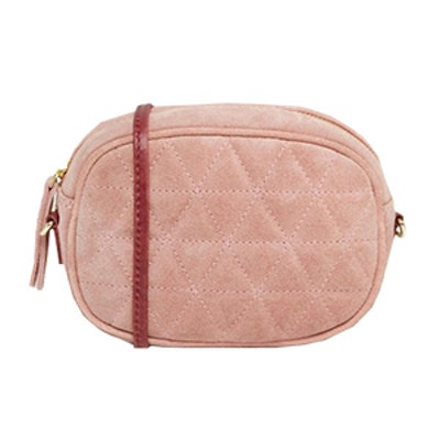 Quilted Oval Suede Cross Body Bag With Chain Strap