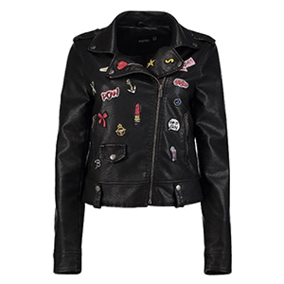 Erin Badge Faux Leather Biker Jacket