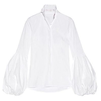 Jacqueline Ruffled Stretch-Cotton Shirt