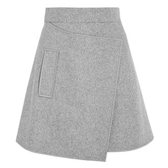 Wrap Effect Wool-Blend Felt Mini Skirt