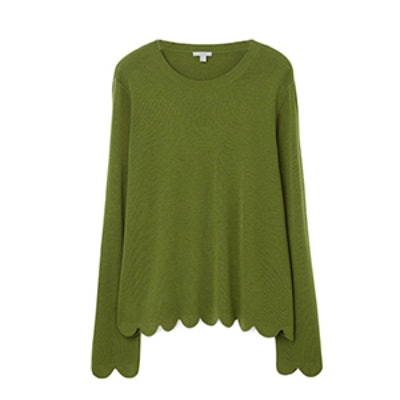 Scalloped Merino Wool Jumper