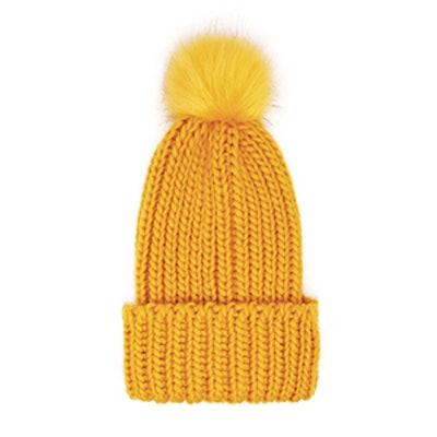 Ribbed Knit Pom-Pom Beanie