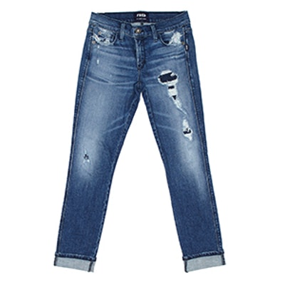 Sexy Straight Medium Repaired Jean