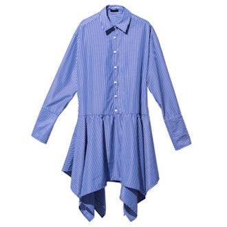 Blue Irregular Hem Pinstripe Shirt Dress