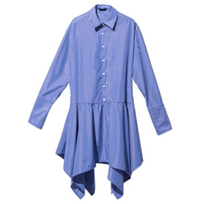 Blue Irregular Hem Pinstripe Shirt Dress