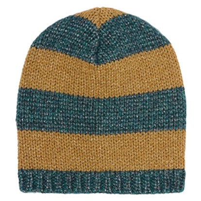 Metallic Striped Knitted Beanie