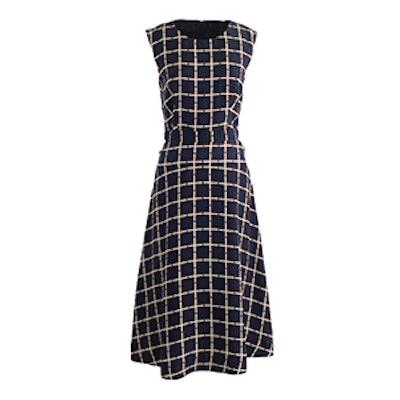 Windowpane Print A-Line Dress