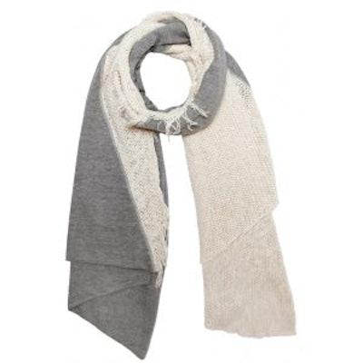 Knit Diagonal Scarf, Creme