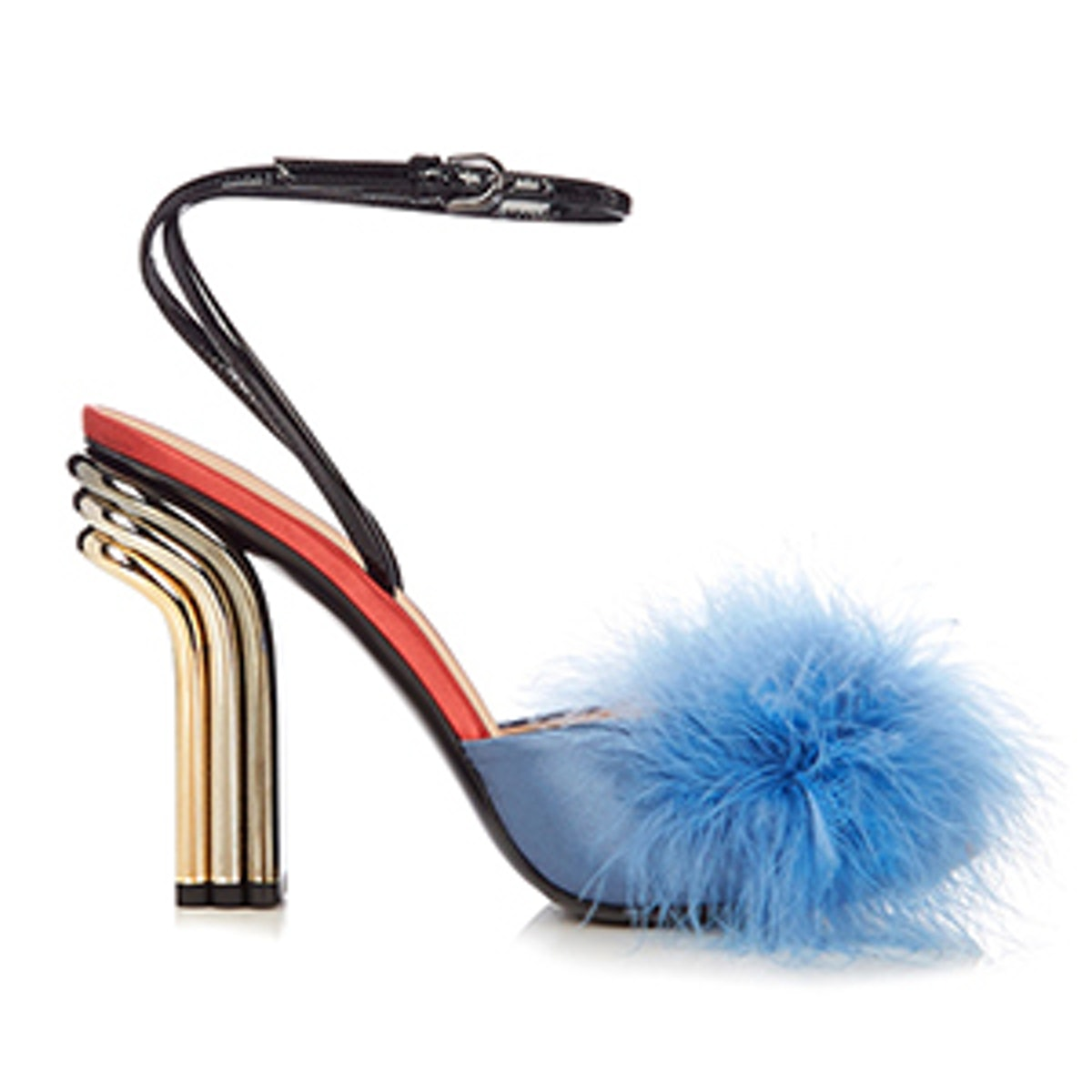 Feather-Embellished Satin Sandals