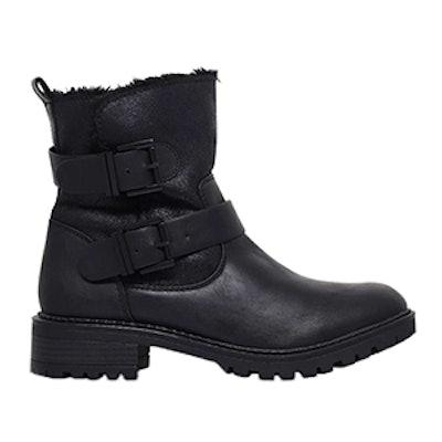 Snug Low Heel Biker Boots