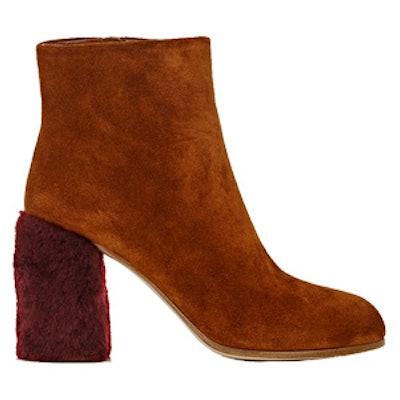 Fur-Heel Suede Ankle Boots