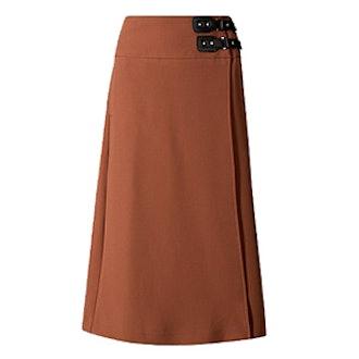 Pleated Kilt Midi Skirt