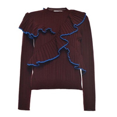 Bordeaux Ruffled Rib Stitch Knit Crewneck