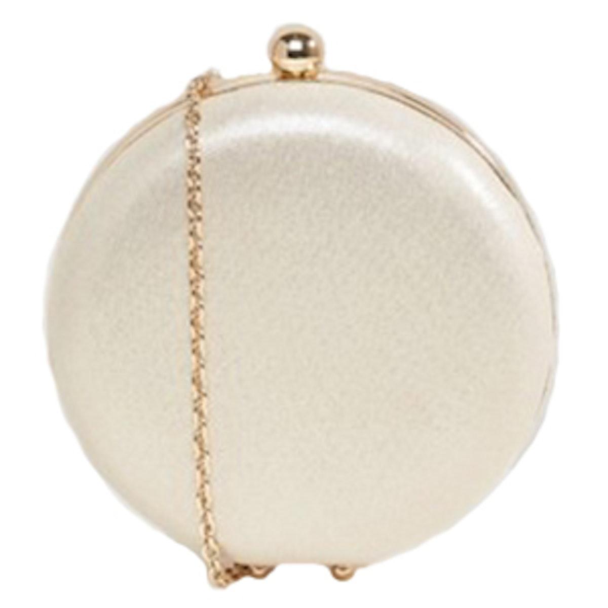 Metallic Round Box Clutch Bag