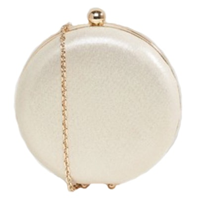 Metallic Round Box Clutch Bag