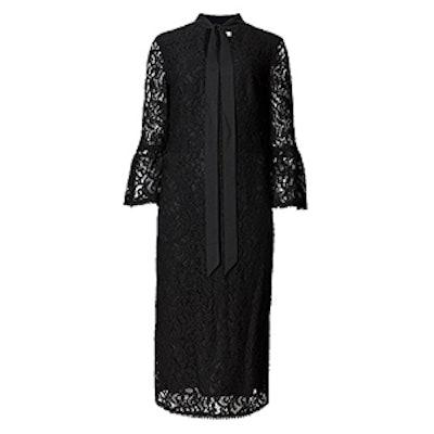 3/4 Sleeve Notch Neck Lace Shift Dress
