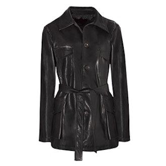 Leather Cargo Belted Jacket