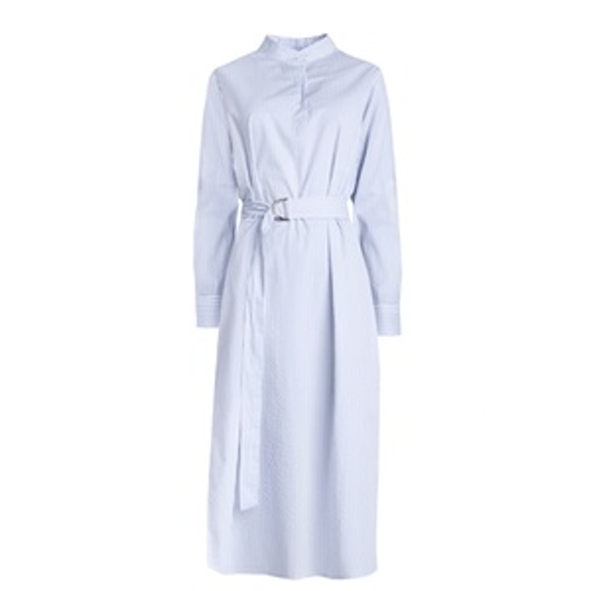 Long Striped Belted Shirt Dress