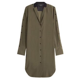 Silk Shirtdress With Contrast Collar