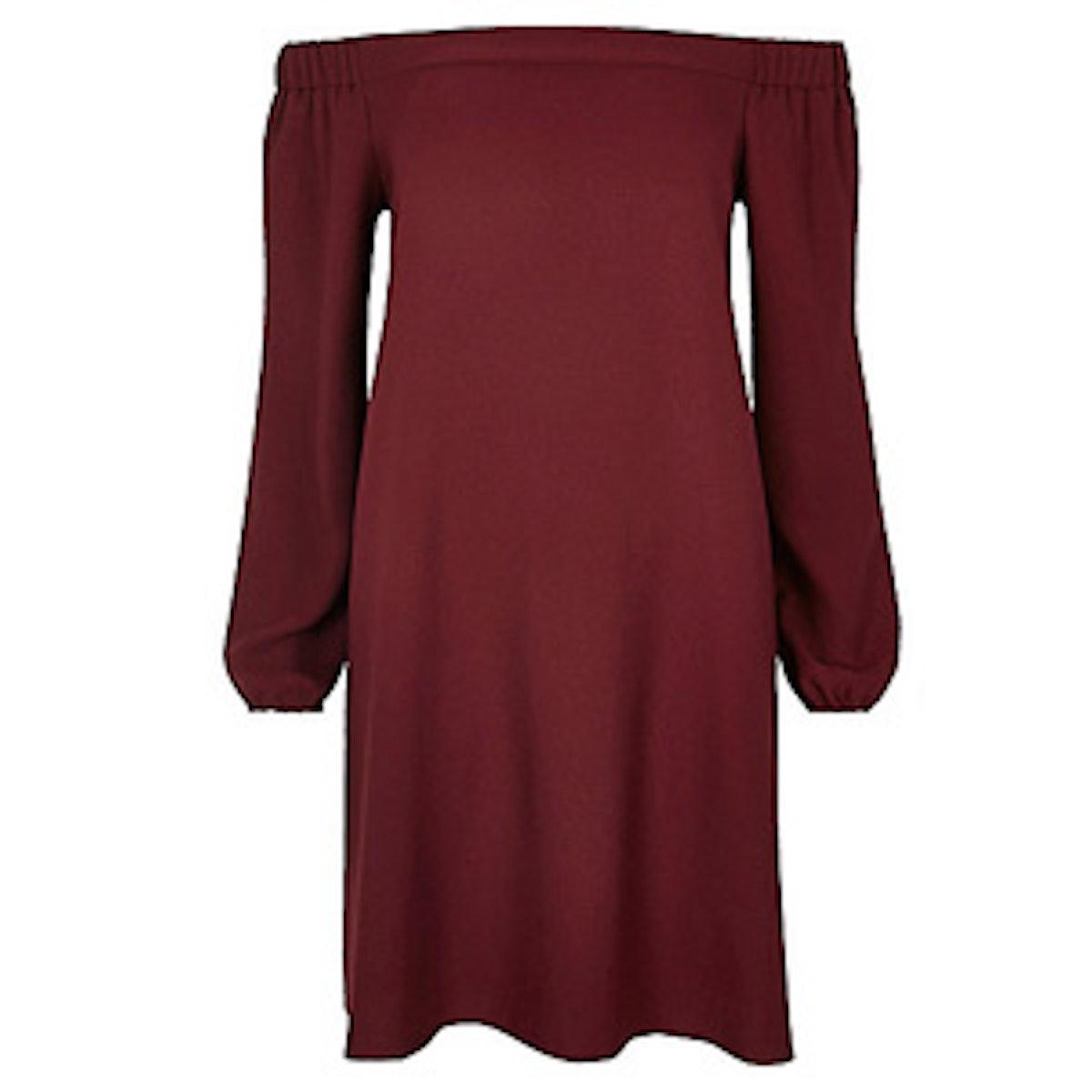 Dark Red Bardot Swing Dress