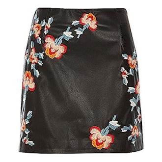 Leather Look Embroidered Mini Skirt
