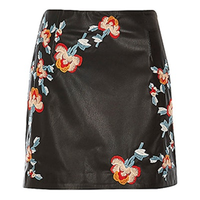 Leather Look Embroidered Mini Skirt