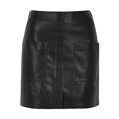 Leather Look Patch Pocket Mini Skirt