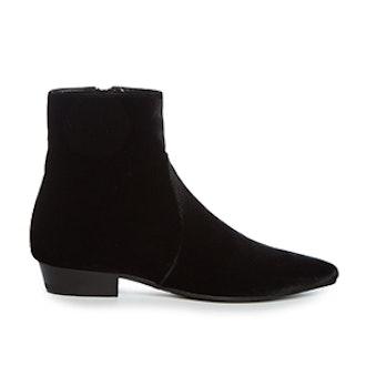Deven Point-Toe Velvet Chelsea Boots