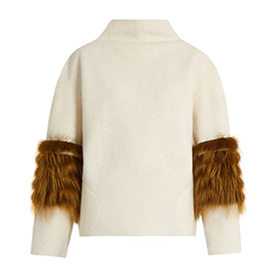 Vein Fox-Fur Panel Wool Sweater