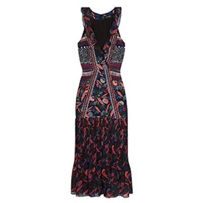 Amy Printed Silk-Chiffon Midi Dress