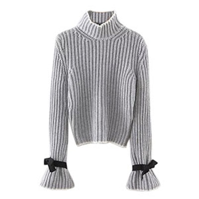 Neck Bow Bell Sleeve Sweater