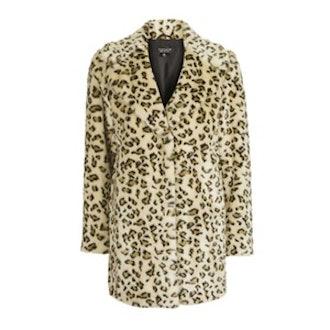 Casual Leopard Faux Fur Coat