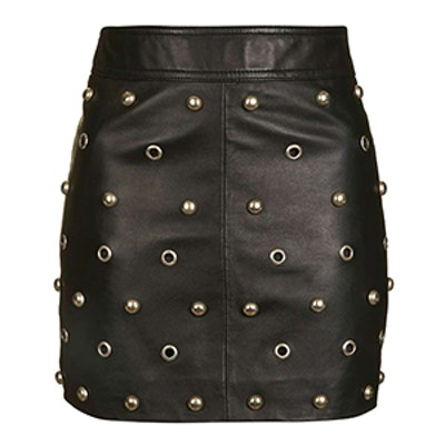 Stud Front Leather Skirt