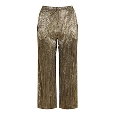 Metallic Pleat Trousers