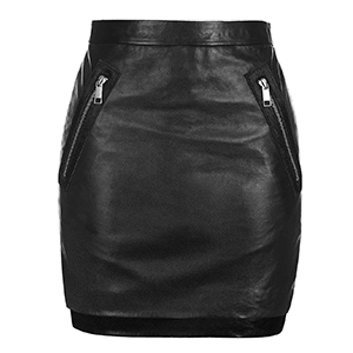 Zip Patch Leather Mini Skirt