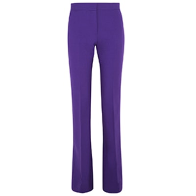 Stretch Wool-Crepe Flared Pants