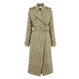 Checked Belted Trench Coat
