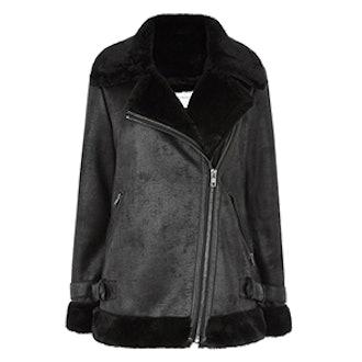 Oversized Faux Fur Biker Jacket