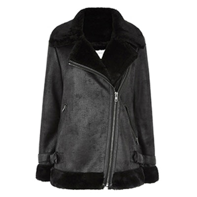 Oversized Faux Fur Biker Jacket