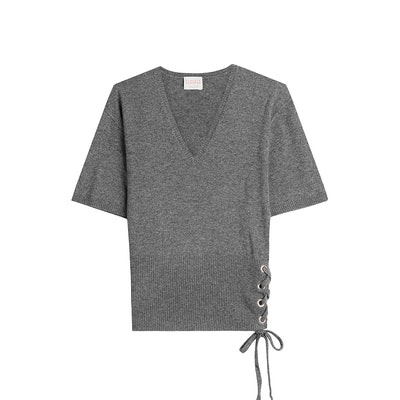 Wool And Cashmere Top With Lace-Up Side