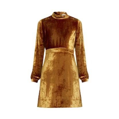 Gemma High-Neck Velvet Dress