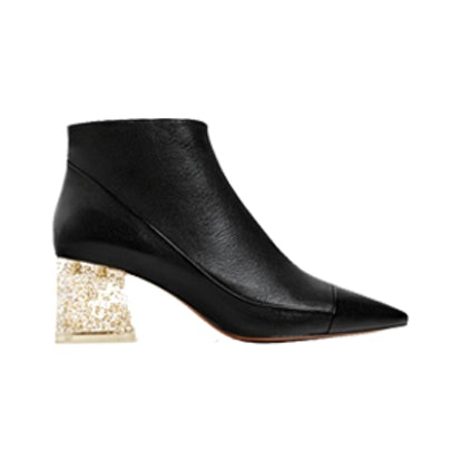 Leather Ankle Boot With Methacrylate Heel