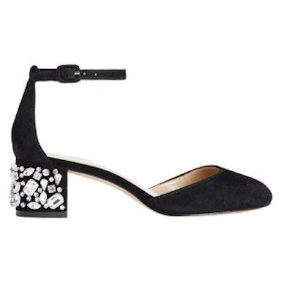 Haley Studded Suede Black Heels