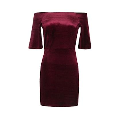 Sofia Velvet Off Shoulder Bodycon Dress
