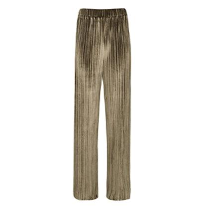 Pleated Velvet Wide Leg Trousers