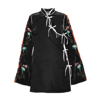 Annamay Embroidered Velvet Mini Dress