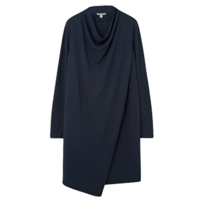 Draped Collar Jersey Dress