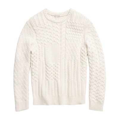 Cashmere Patchwork Cable Crew