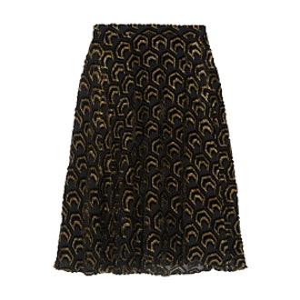 Flocked Metallic Silk-Blend Skirt