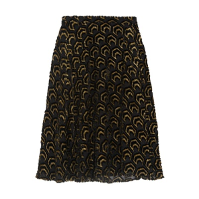 Flocked Metallic Silk-Blend Skirt